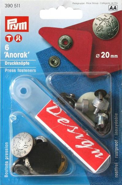 NF-Druckknopf Anorak Excursion MS 20 mm mattsilber