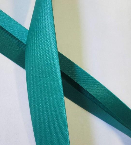 Satinschrägband türkis grün 20 mm