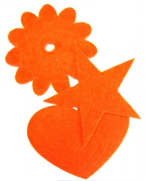 Patches/Bügelflicken Velour-Optik ca. 6 cm, 3er Set (orange)