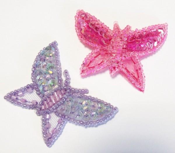 Applikationen Sortiment Schmetterling mit Pailletten 50 x 40 mm 2 Stück