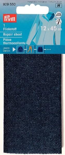 Flickstoff Jeans aufbügelbar 12 x 45 cm dunkelblau