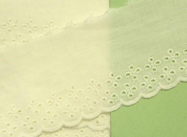 Baumwollspitze wollweiß mit Lochstickerei 60 mm