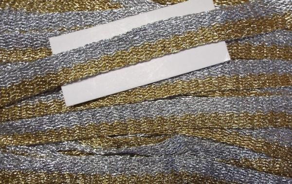 gewirktes Band gold / silber 25 mm