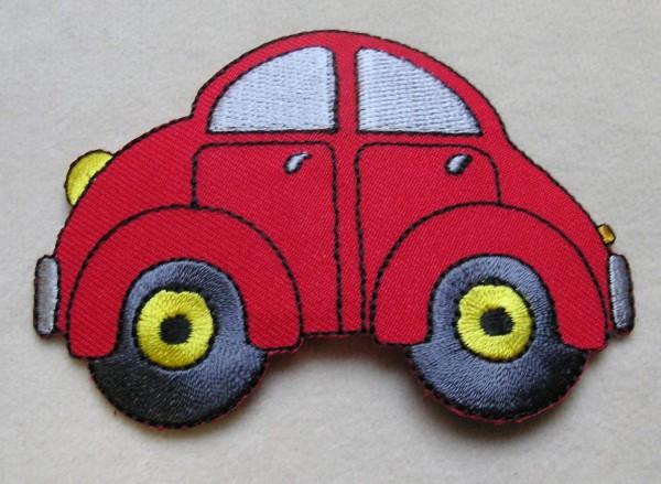 "Applikation ""rotes Auto"" 90 x 65 mm zum aufbügeln"