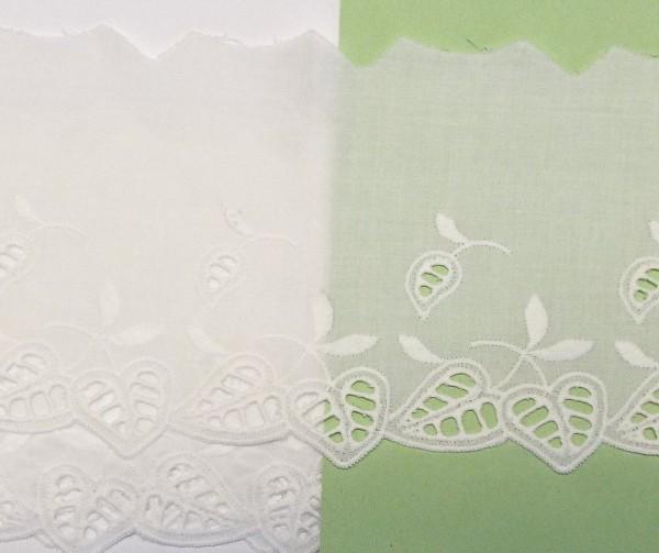 Baumwollspitze weiß mit Blatt Motiven fein gestickt 100 mm breit