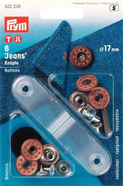 NF-Jeansknopf Sterne offen 17 mm altbronze