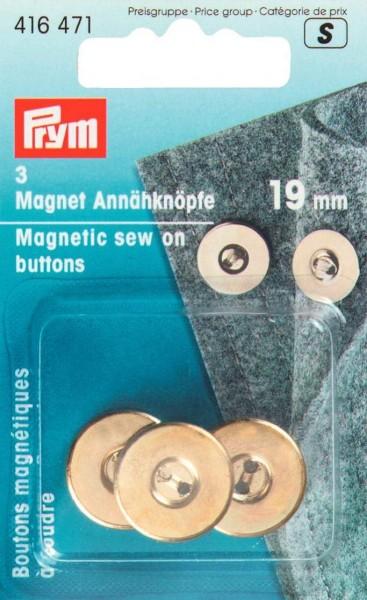 Magnet-Annähknöpfe 19 mm goldfarbig