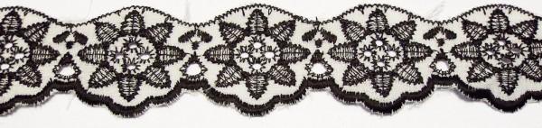 Baumwollspitze schwarz/weiß 25 mm