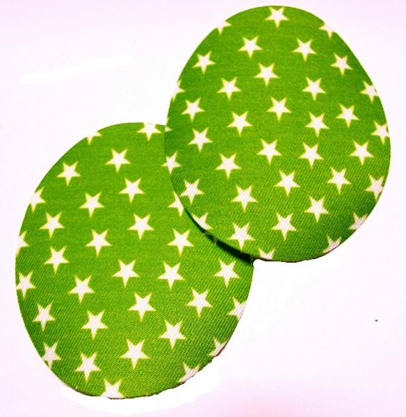 1 Paar Patches/Bügelflicken mit Sternen 90 x 75 mm apfel grün