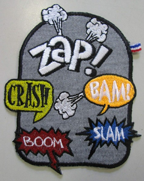 "Applikation ""Zap, Crash ..."" 90 x 115 mm"