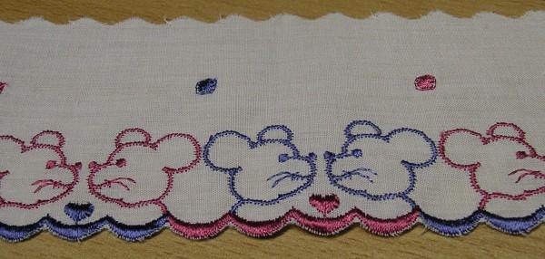 Baumwollspitze Mäuschen creme gestickt 70 mm breit
