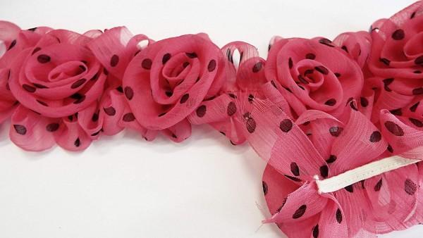Chiffon Rosenborte pink mit schwarzen Pünktchen 65 mm