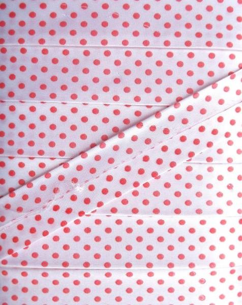 Satinschrägband Punkte 18 mm weiß/rot
