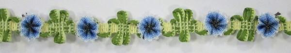 Borte mit Blümchen in blau und grün 15 mm