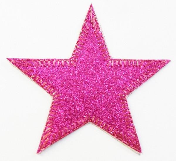 Patches / Bügelflicken Stern Glitzer (pink) 9 cm