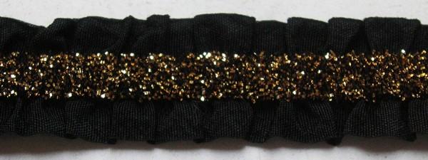 Elastische Rüsche schwarz mit Lurex gold 15 mm
