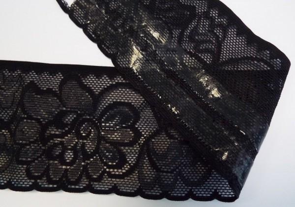 Dessousspitze elastisch 80 mm schwarz mit Silikonbeschichtung