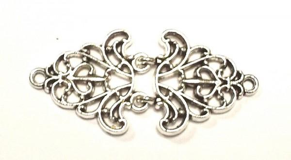 Bekleidungsverschluß alt silber zum einhaken Ornament 55 x 25 mm