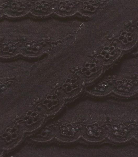 Baumwollspitze shwarz Lochstickerei 28 mm breit