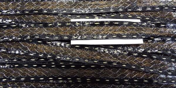 Band Leder-Optik schwarz/braun glänzend mit Lurexfaden durchzogen 20 mm