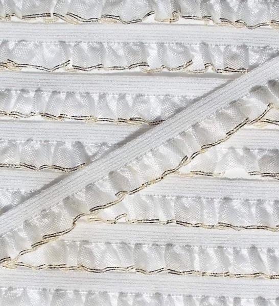 Wäschespitze elastisch 13 mm weiß mit Gold Glitzernden Abschlußrand