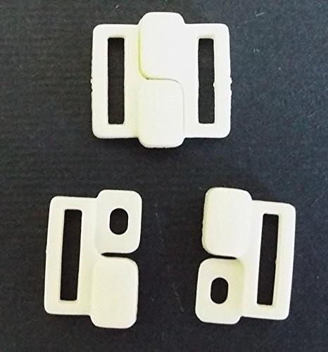 2 Bikiniverschlüsse weiß 10 mm