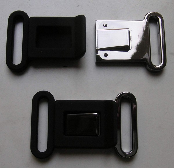 Bekleidungsverschluss antiksilber glänzend/schwarz Steg 25mm