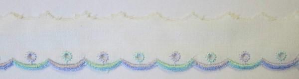 Baumwollspitze weiß mit lila und türkiser Bogenkante 25 mm
