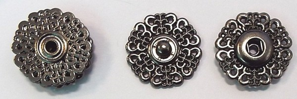 Druckknopf zum Annähen Metall alt silber Ornament (18 mm)