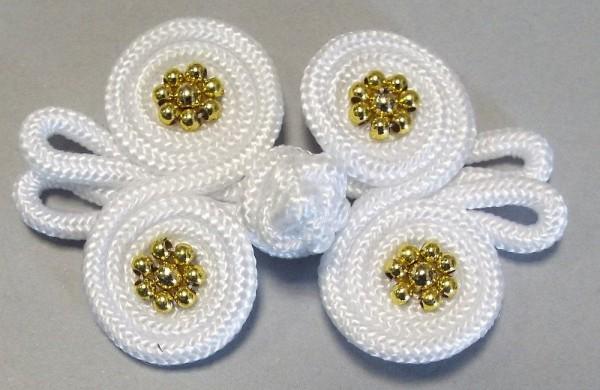 Posamentenverschluß mit goldenen Perlen (weiß)