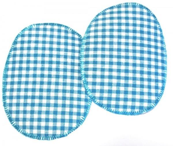 1 Paar Patches/Bügelflicken Karo türkis 11,5 x 9 cm