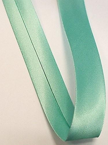 Satinschrägband grün türkis 18 mm