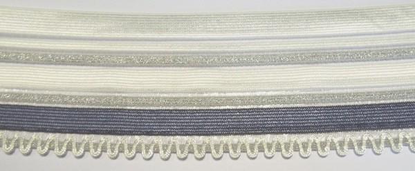 Dessousspitze elastisch 55 cm taubenblau, silber und weiß mit Silikonbeschichtung