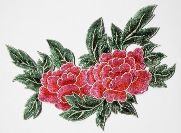 Applikation Pfingst Rose / Pfingstrose 22 x 14,5 cm