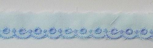 Baumwollspitze hellblau mit blau gestickter Bogenkante 15 mm