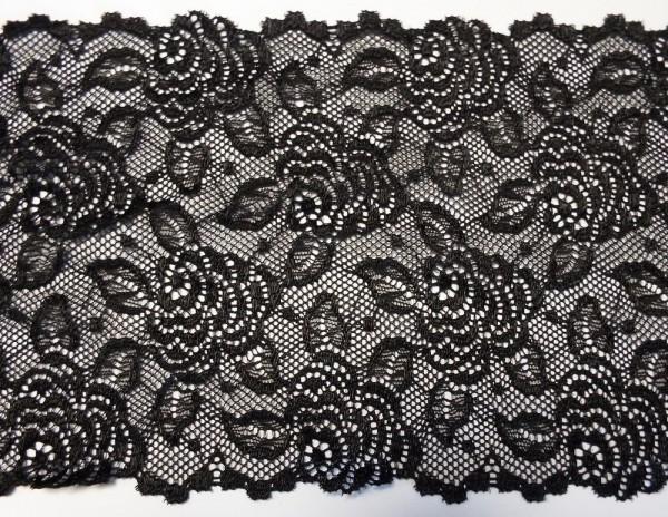 Dessousspitze elastisch 14,5 cm schwarz