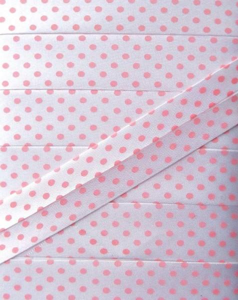 Satinschrägband Punkte 18 mm weiß/rosa