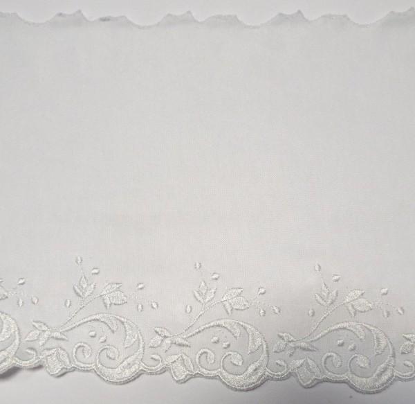 Jersey Spitze, elastisch weiß mit Stickerei Abschluß 16 cm