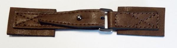 Bekleidungsverschluß antike Leder - Optik mit Dorn 140 x 25 mm (braun)