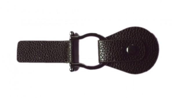 Bekleidungsverschluss dunkelbraun mit Druckknopf 115 x 40 mm