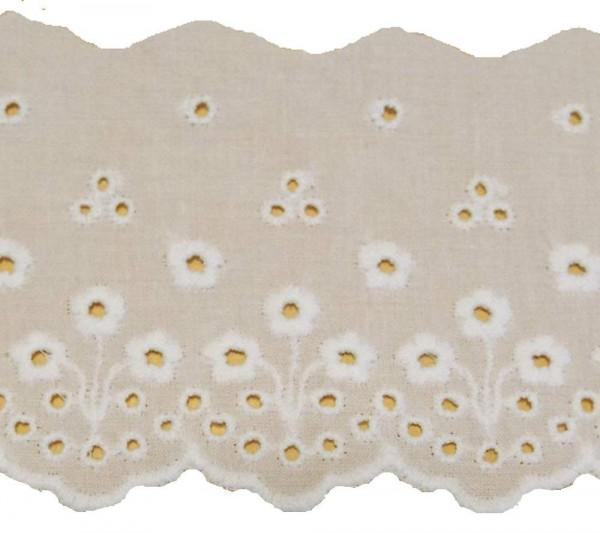 Baumwollspitze weiss mit Lochstickerei und Bogenkante 75 mm