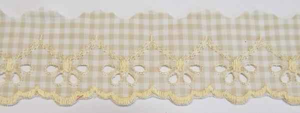 Baumwollspitze beige, weiß kariert mit gestickter Bogenkante 45 mm