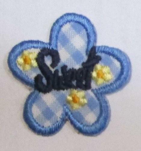 """Applikation Blume """"Sweet"""" in blau 25 x 25 mm"""