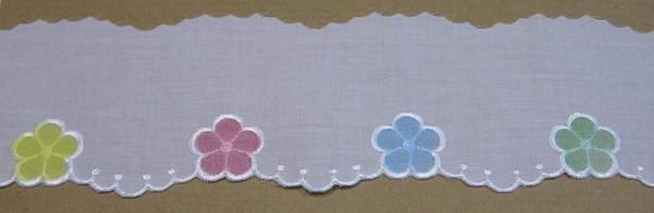 Baumwollspitze weiß mit bunten Blüten gestickt 80 mm breit
