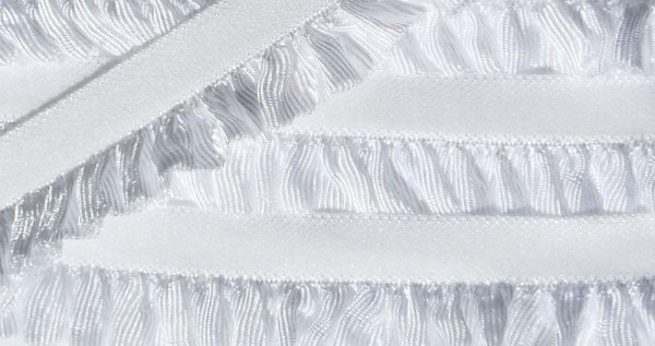 Wäschespitze/Einfassspitze elastisch 17 mm weiß mit Rüschenabschluß