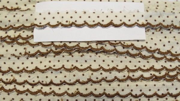 Baumwollspitze braun mit gestickter Bogenkante 10 mm