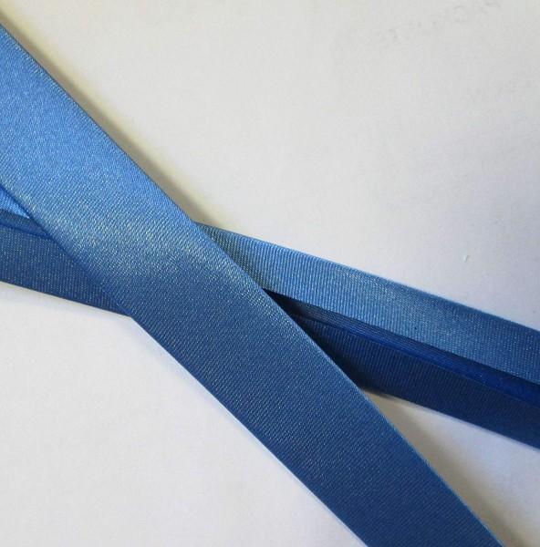 Satinschrägband stahlblau 20 mm