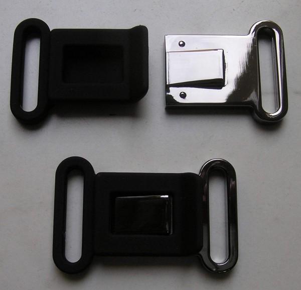 Bekleidungsverschluss antiksilber glänzend/schwarz Steg 39mm