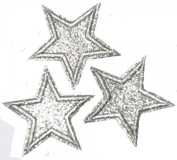 Applikationen 3 Sterne Lurex Silber zum Aufbügeln