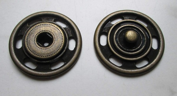 Druckknopf zum Annähen Metall messing antik 30mm